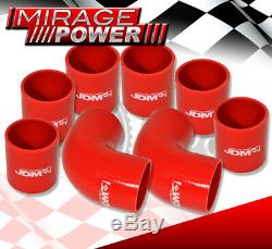 2.5 Black Piping Pipe Kit+Turbo Intercooler+Silicone Couplers Red+T-Bolt Clamp