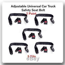 (5 Kits) Adjustable Universal Car Truck 2 Point Seat Belt Lap Safety Belt