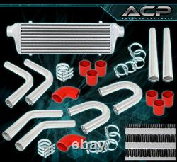 Bar Plate Front Mount Intercooler Fmic +64mm Aluminum Pipe Piping Kit + Couplers