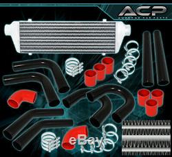 Diy 28 Intercooler + 8 Piece 2.5 Piping Pipe Kit + Clamps +Reinforced Coupler