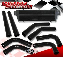 Jdm Sport Inter Cooler + 2.5 Beaded Flared End Racing Pipe Piping Kit 8 Pieces