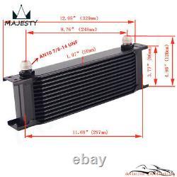 Universal AN10 13 Row Oil Cooler+Thermostat Sandwich Plate Kit+Bracket Black