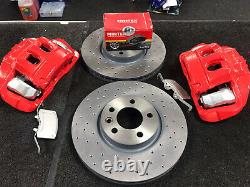 VW TRANSPORTER T5 T6 FRONT BRAKE DISC DRILLED CONVERSION KIT 17 340mm RED