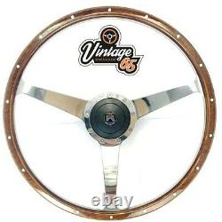 Vw T2 T3/25 T4 Camper Van Caravelle 17 Polished Riveted Wood Rim Steering Wheel
