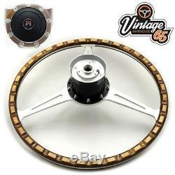 Vw Transporter T2 Bay Crossover 17 Polished Wood Rim Steering Wheel & Boss Kit
