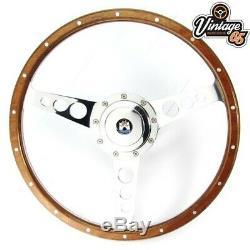 Vw Transporter T2 Camper 6873 15 Polished Wood & Alloy Steering Wheel Upgrade