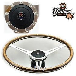 Vw Transporter T2 Camper Bay 17 Polished Wood Rim Steering Wheel Upgrade Kit
