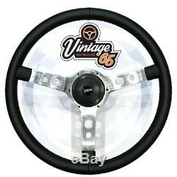 Vw Transporter T4 Camper 17 Steering Wheel & Boss Horn Kit Polished Black Vinyl