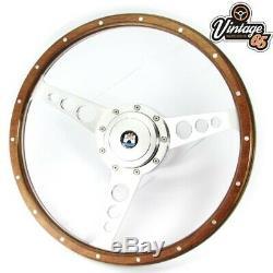 Vw Transporter T4 Camper 9600 15 Polished Wood & Alloy Steering Wheel Upgrade