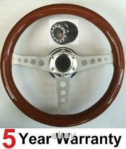 Wood Steering Wheel And Boss Kit Fit Vw Transporter Carvelle Bus T2 T25 T3 T4